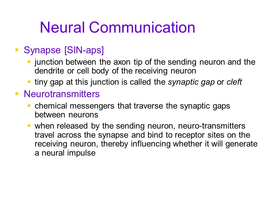 Neural Communication Synapse [SIN-aps] Neurotransmitters